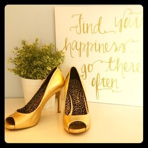 Jessica Simpson open-toe gold heels